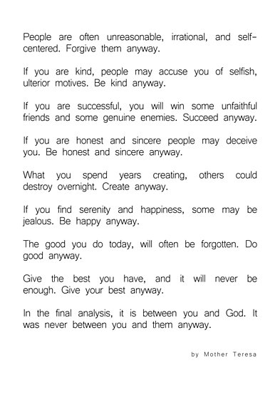 Do It Anyway By Mother Teresa 2 Minimalism Inspirational Poster By Andrea Anderegg