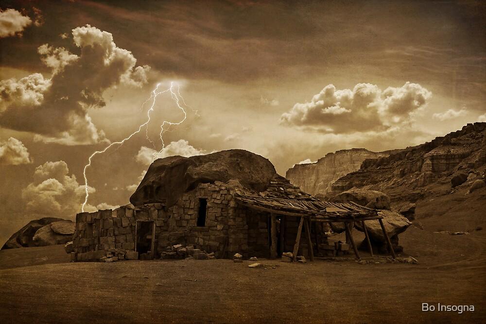 Southwest Desert Rock house and Lightning Strike. by Bo Insogna