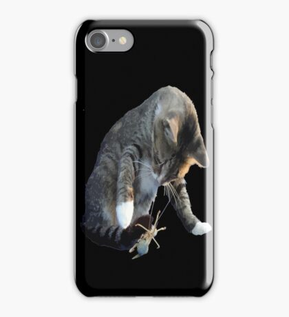 White Pawed Tabby Cat Playing With Winged Insect iPhone Case/Skin