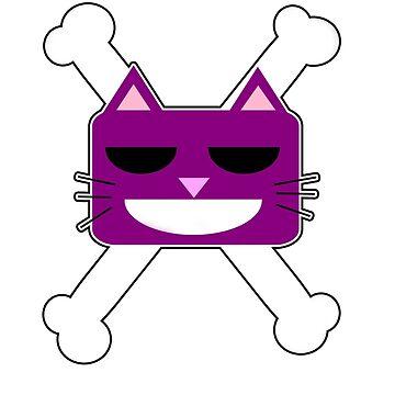 Smiling Cat crossbones Dreimann by Jebus13