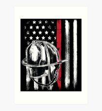 American Flag Thin Red Line Firefighter Helmet Art Print