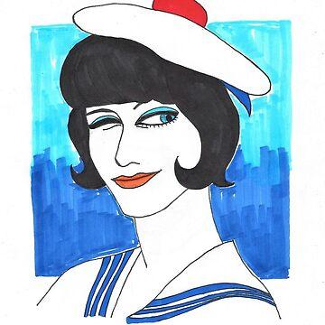 Anna Karina Sailor Wink 60s Illustration by m-oonriver