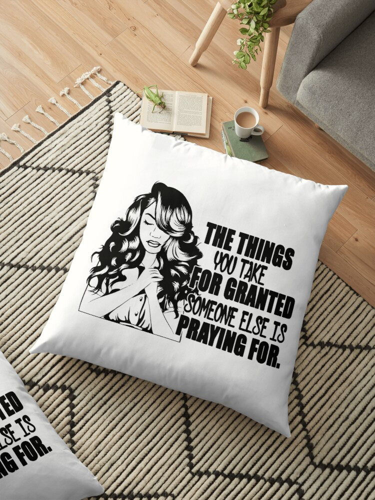 'Woman Life Quotes Diva Queen Classy lady Praying Glamour Unique' Floor  Pillow by DesignsByAymara