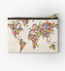 Flowers Map of the World Map Studio Pouch