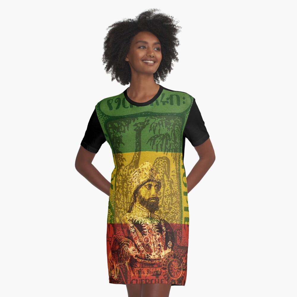 Haile Selassie Emperor of Ethiopia Graphic T-Shirt Dress Front