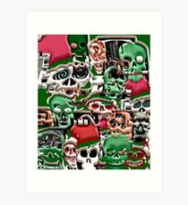 skulls christmas  Art Print