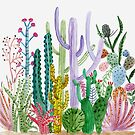 Watercolor Cacti by MarinaSotiriou