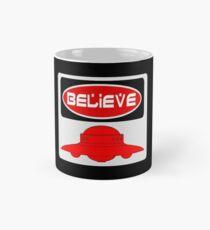 BELIEVE: UFO, FUNNY DANGER STYLE FAKE SAFETY SIGN Mug