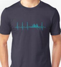 Heartbeat Rowing T-Shirt - Cool Funny Nerdy Comic Graphic Rowing Rower Rowing Rowing Club Rowing Team Humor Saying Sayings Statement Shirt Gift Gift Idea Unisex T-Shirt