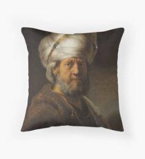 Man in oosterse kleding - Rembrandt Harmenszoon van Rij Throw Pillow