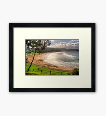 A bench with a view at Lorne in landscape Framed Print