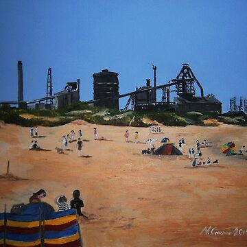 Redcar Beach and Steelworks by CrossanArt