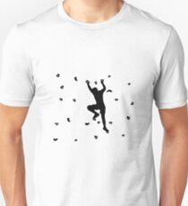 Mann Bouldern oder Klettern an der Kletterwand Unisex T-Shirt