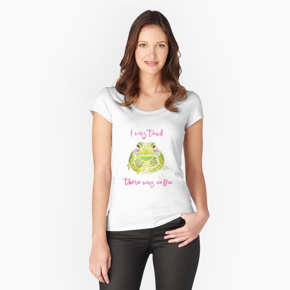 Funny Toad Coffee Art Fitted Scoop T-Shirt