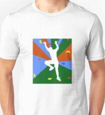 Mann Klettern oder Bouldern an der Kletterwand Unisex T-Shirt