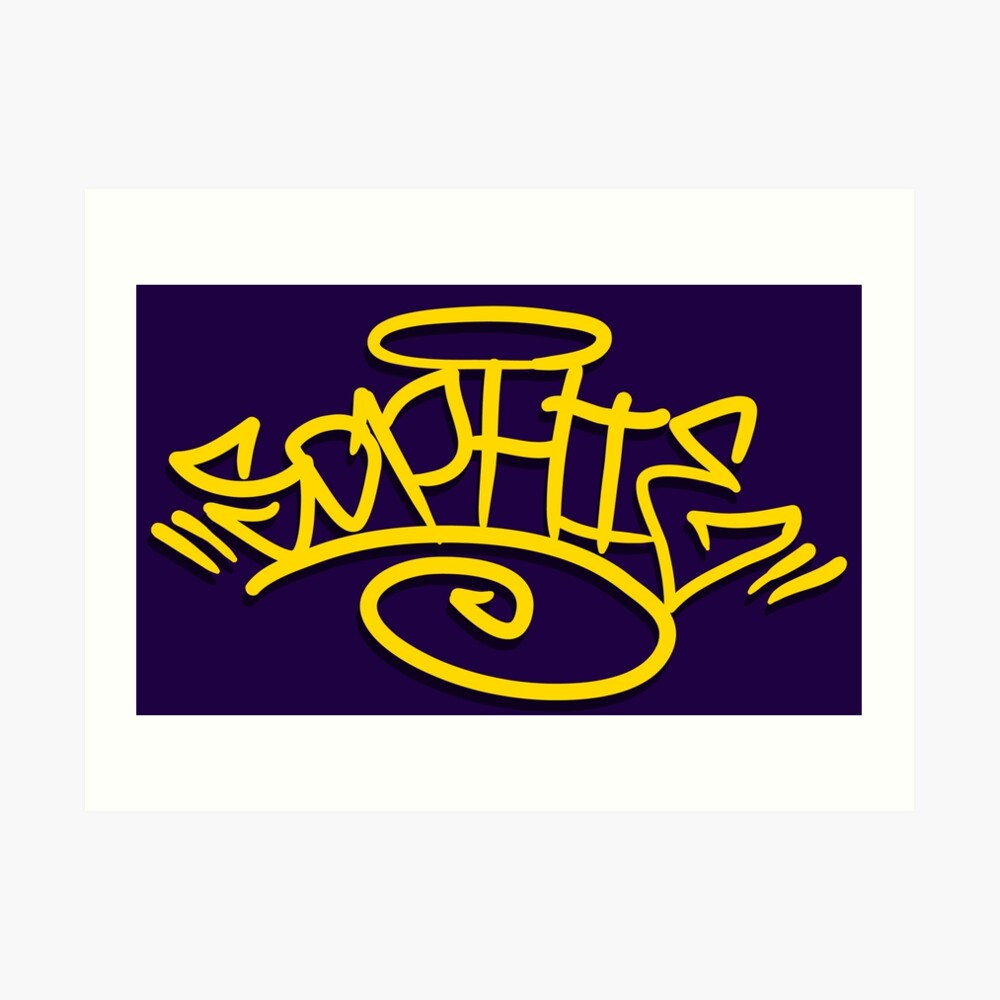 Sophie graffiti tag lettering name art print
