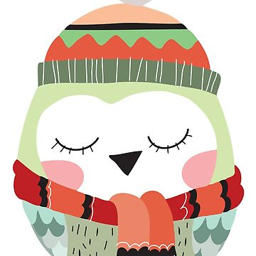 Owl in Winter Hat and Scarf by peacockcards