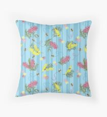 Busy Bees and Australian Flora Throw Pillow