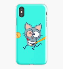 Cool cat playing baseball iPhone Case