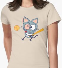 Cool cat playing baseball Women's Fitted T-Shirt