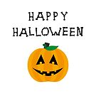 Happy Halloween Pumpkin Bone Lettering Light-Color by TinyStarAmerica