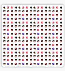 asteyni Emote 16x16 Grid (for L or XL Stickers) (Black Background) Sticker