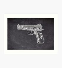 Chalk Gold Pistol Art Print