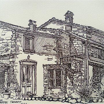 La Vigna, Anghiari, Tuscany. ink sketch. 2011© by emgolding