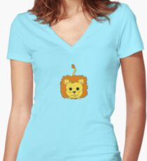 Lion Cartoon Doodle Women's Fitted V-Neck T-Shirt