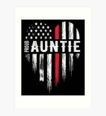 Thin Red Line Heart Aunt Auntie Firefighter Art Print