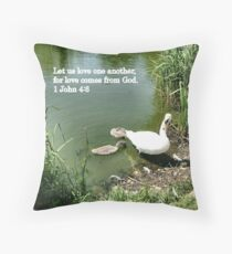Swan and cygnets Throw Pillow