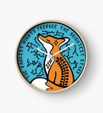 Celestial Fox Star Sign Quote. Space Star Fox Turquoise Nature Star Sign Constellation Clock