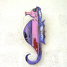 Pink and Purple Wood Seahorse by Teresa Schultz