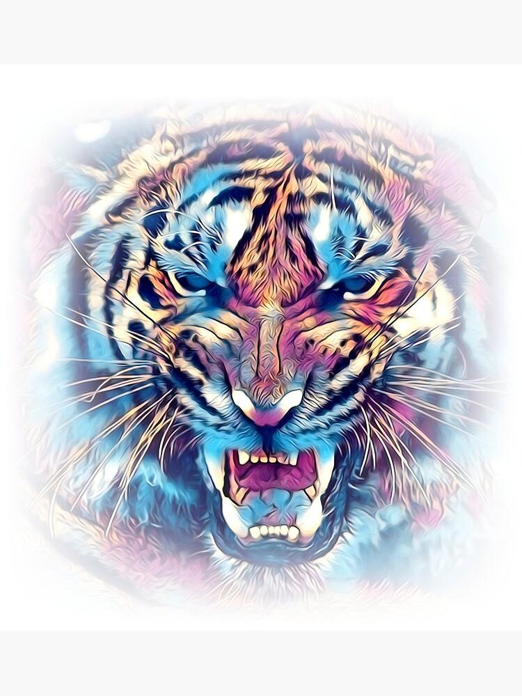 tiger art illustration color design fun by rafalkulik