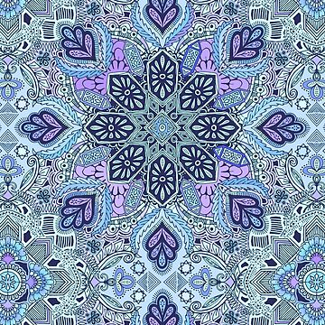 Navy Blue, Mint and Purple Boho Pattern by micklyn