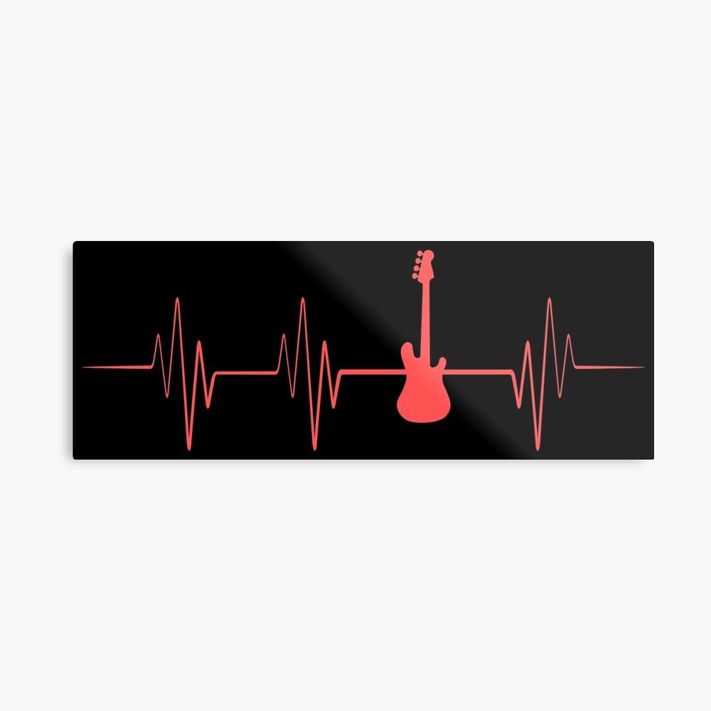 Guitar Player Heartbeat - Guitar Player Gift Metallbild