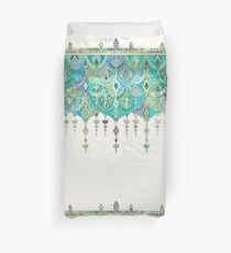 Art Deco Double Drop in Jade and Aquamarine on Cream Duvet Cover