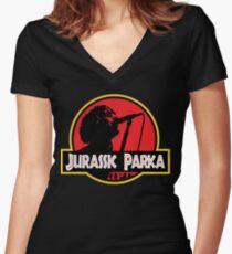 Jurassic Parka Fitted V-Neck T-Shirt