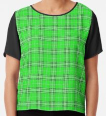 Green Plaid Pattern Chiffon Top