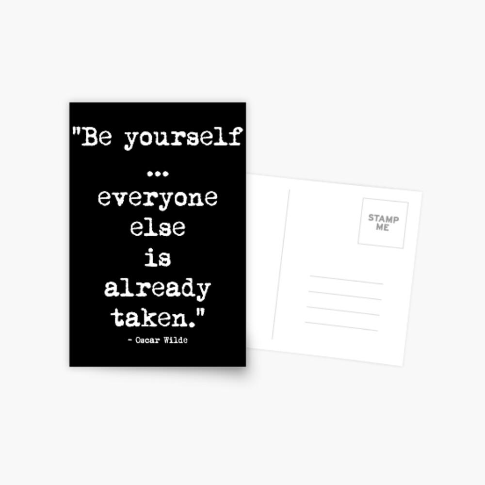 Oscar Wilde Be Yourself White Postkarte