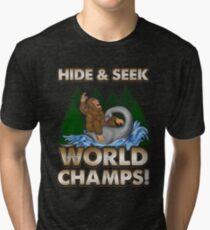 Bigfoot Riding Nessie - Sasquatch Loch Ness Monster T-shirt Tri-blend T-Shirt