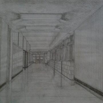 Hillsdale High School Hallway by dekomsyrokcih