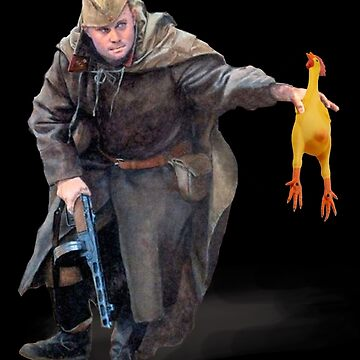 Russian Soldier Holds Rubber Chicken by Linkbekka
