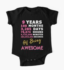 9th Birthday Shirt | Birthday Countdown | Of Being Awesome One Piece - Short Sleeve