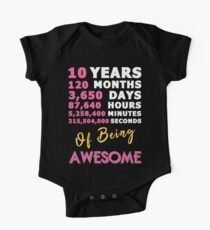 10th Birthday Shirt | Birthday Countdown | Of Being Awesome One Piece - Short Sleeve