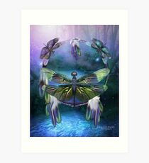 Dream Catcher - Spirit Of The Dragonfly Art Print