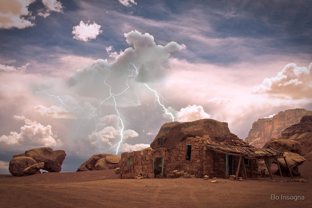 Southwest Desert Landscape Indian House and Lightning by Bo Insogna