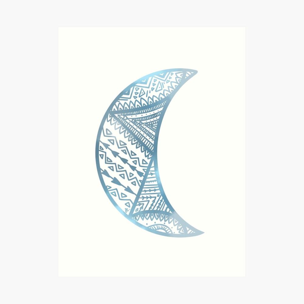 mandala luna azul Lámina artística