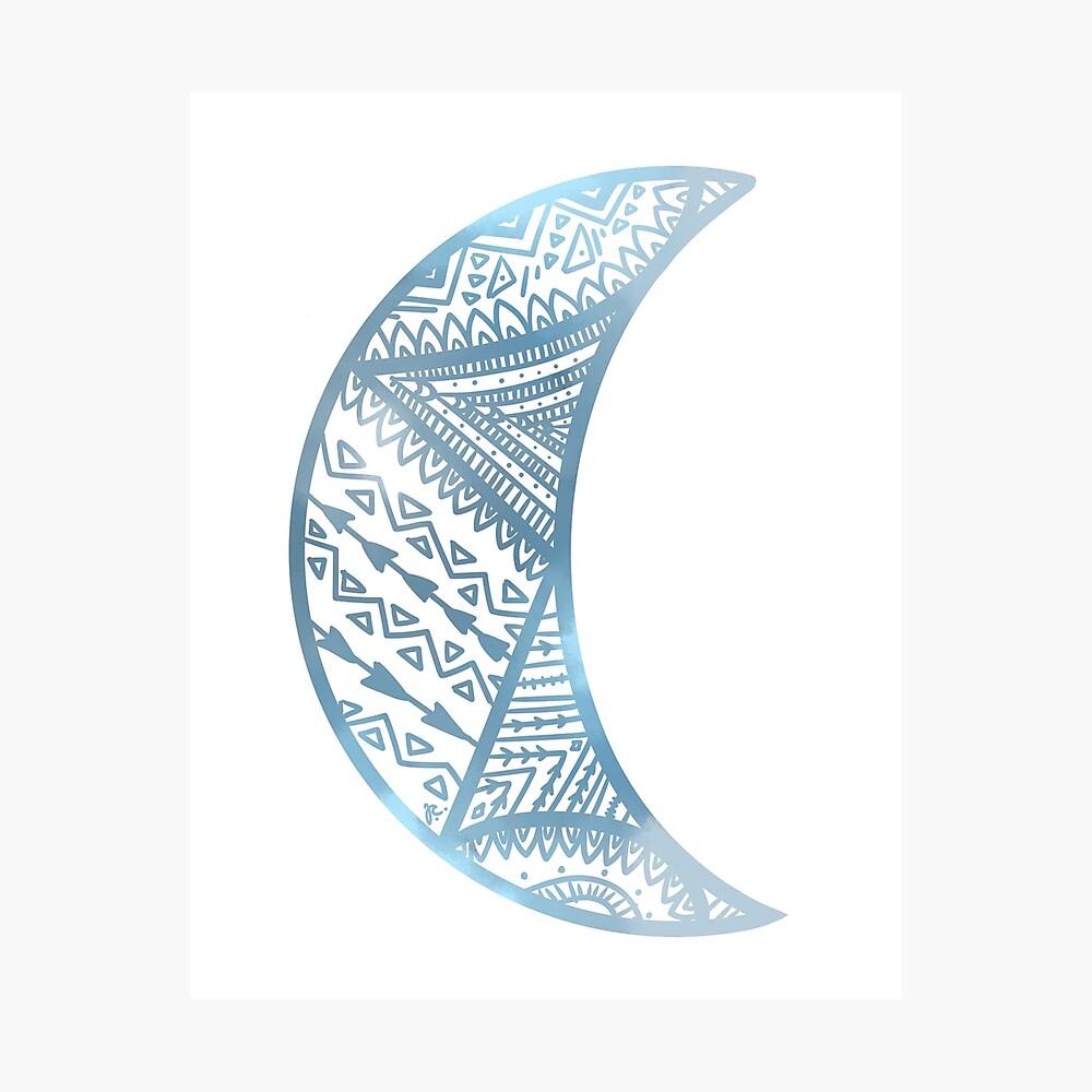 mandala luna azul Lámina fotográfica