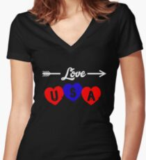 LOVE USA Women's Fitted V-Neck T-Shirt
